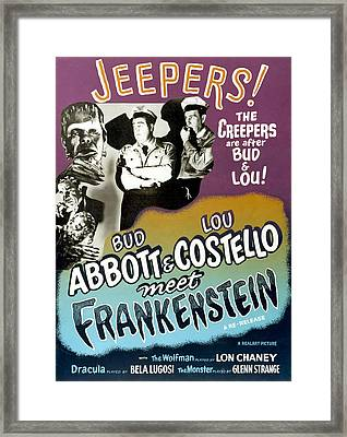 Abbott And Costello Meet Frankenstein Framed Print by Everett