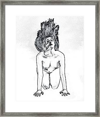 Model 3001 Fine Art Nude Drawings In Black And White 1104.01 Framed Print by Kendree Miller