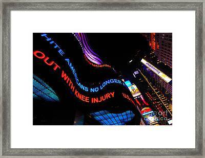 Abc News Scrolling Marquee In Times Square New York City Framed Print by Amy Cicconi