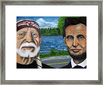 Abe And Willie Framed Print by Joshua Bloch