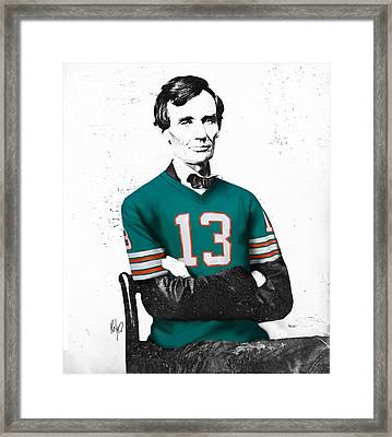 Abe Lincoln In A Dan Marino Miami Dolphins Jersey Framed Print by Roly Orihuela