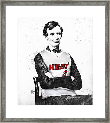 Abe Lincoln In A Dwyane Wade Jersey Framed Print by Roly Orihuela