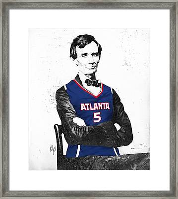 Abe Lincoln In A Josh Smith Atlanta Hawks Jersey Framed Print by Roly Orihuela