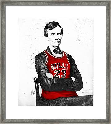Abe Lincoln In A Michael Jordan Chicago Bulls Jersey Framed Print