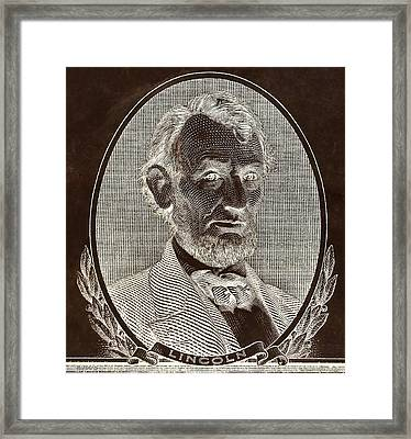 Framed Print featuring the photograph Abe On The 5 B W Inverted Brown by Rob Hans