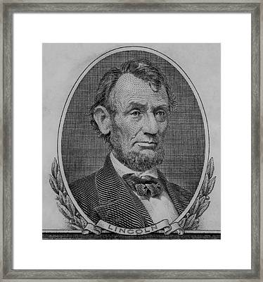 Framed Print featuring the photograph Abe On The 5 B W by Rob Hans