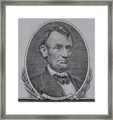 Framed Print featuring the photograph Abe On The 5 Gray by Rob Hans