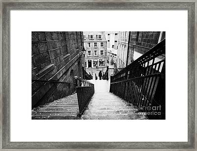 Aberdeen Union Street Back Wynd Stairs Scotland Uk Framed Print by Joe Fox