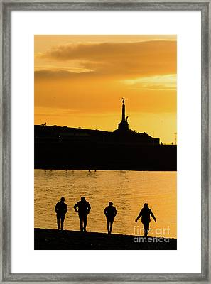 Aberystwyth Sunset Silhouettes Framed Print