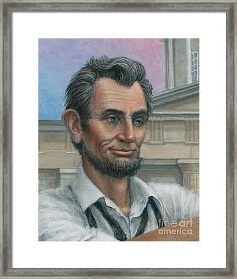 Framed Print featuring the painting Abe's 1st Selfie - Detail by Jane Bucci