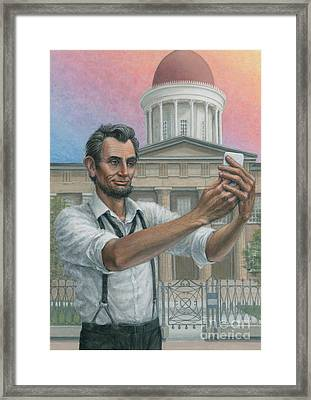 Framed Print featuring the painting Abe's 1st Selfie by Jane Bucci