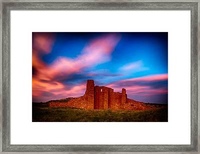 Abo Pueblo Mission Ruins Lit By Sunset Framed Print by Bartz Johnson