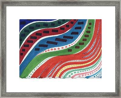 Aboriginal Waves Framed Print by Leslie Genser