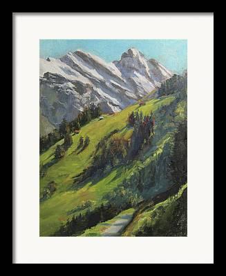 Hiking Paintings Framed Prints