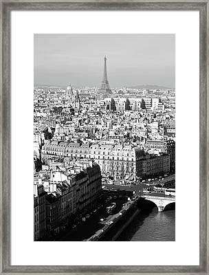 Above Paris Rooftops With The Eiffel Tower In The Distance Black And White Framed Print