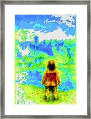 Above The Clouds - A Fantasy Artwork With A Girl Looking Towards Something Mysterious Framed Print