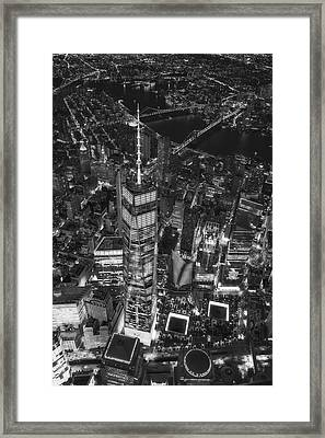 Above The Freedom Tower Wtc Bw Framed Print by Susan Candelario