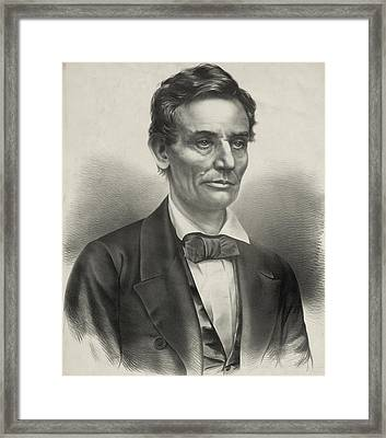 Framed Print featuring the photograph Abraham Lincoln - As A Presidential Candidate by International  Images
