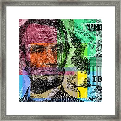 Framed Print featuring the digital art Abraham Lincoln - $5 Bill by Jean luc Comperat