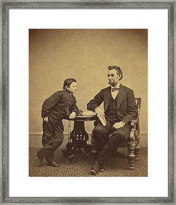 Abraham Lincoln And His Son Thomas Framed Print by Alexander Gardner
