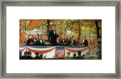 Abraham Lincoln And Stephen A Douglas Debating At Charleston Framed Print