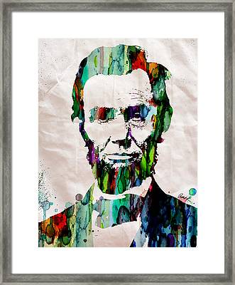 Abraham Lincoln Art Watercolor Framed Print