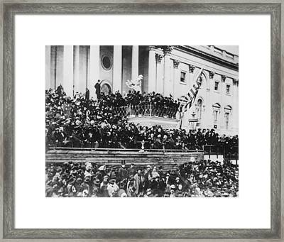 Abraham Lincoln Gives His Second Inaugural Address - March 4 1865 Framed Print