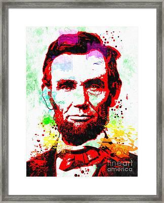 Abraham Lincoln Grunge Framed Print by Daniel Janda