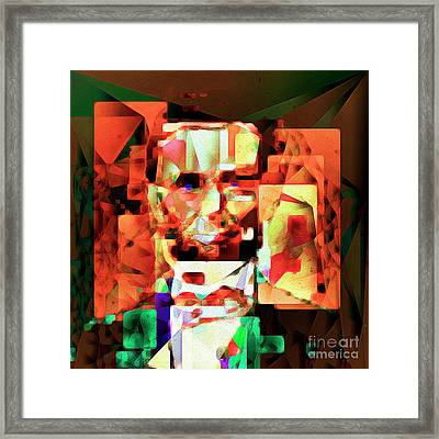 Framed Print featuring the photograph Abraham Lincoln In Abstract Cubism 20170327 Square by Wingsdomain Art and Photography