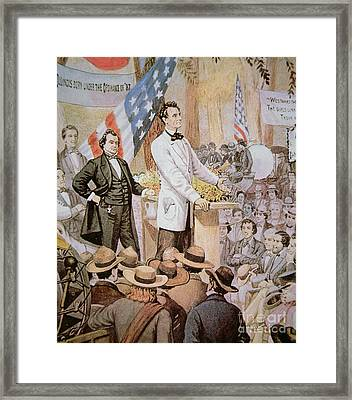 Abraham Lincoln In Public Debate With Stephen A Douglas In Illinois, 1858  Framed Print