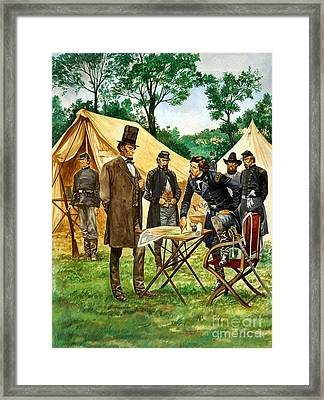 Abraham Lincoln Plans His Campaign During The American Civil War  Framed Print by Peter Jackson