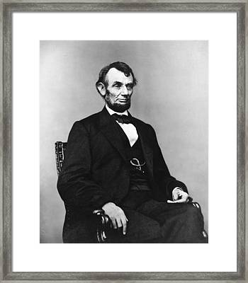 Abraham Lincoln Portrait - Used For The Five Dollar Bill - C 1864 Framed Print by International  Images