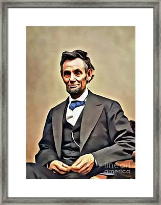 Abraham Lincoln, President Of The United States. Digital Art By Mb Framed Print
