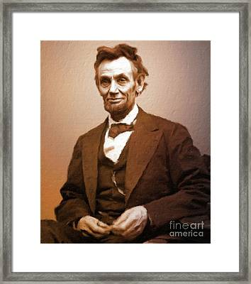 Abraham Lincoln, President Of The Usa By Mary Bassett Framed Print by Mary Bassett