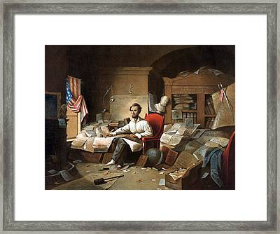 Abraham Lincoln, Proclamation Of Freedom, 1863 Framed Print by American School