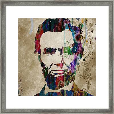 Abraham Lincoln Watercolor Modern Abstract Pop Art Color Framed Print