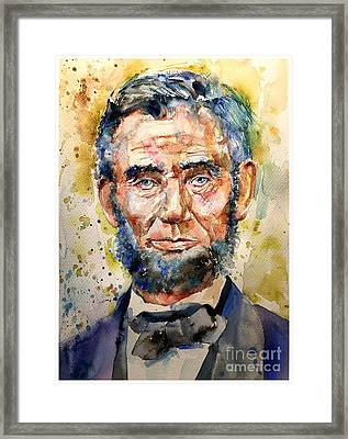 Abraham Lincoln Watercolor Framed Print