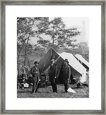 Abraham Lincoln With Allan Pinkerton And Major General Mcclernand At Antietam, 1862 Framed Print