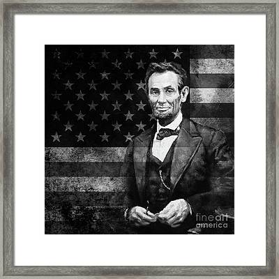 Abraham Lincoln With American Flag  Framed Print by Gull G