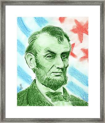 Framed Print featuring the drawing Abraham Lincoln  by Yoshiko Mishina
