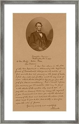 Abraham Lincoln's Letter To Mrs. Bixby Framed Print