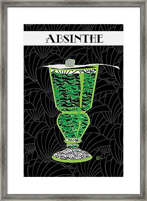 Absinthe Cocktail Art Deco Swing Framed Print by Cecely Bloom