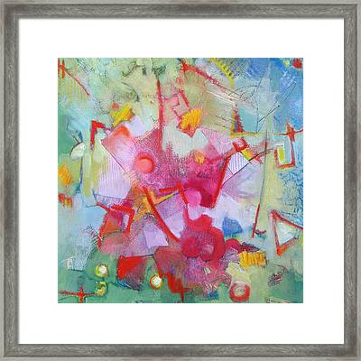 Abstract 2 With Inscribed Red Framed Print by Susanne Clark