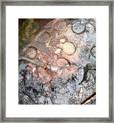 Framed Print featuring the digital art abstract 2317 Moonscape Pottery by Kae Cheatham