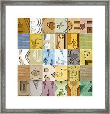 Abstract Alphabet Quilt Framed Print by Vanessa Bates