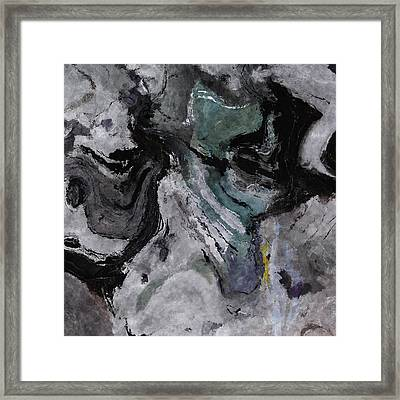 Abstract And Minimalist Acryling Painting In Gray Color Framed Print by Ayse Deniz