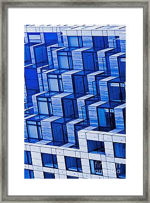 Abstract Architecture In Blue Framed Print by Mark Hendrickson