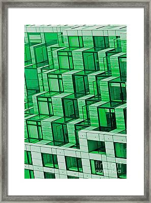 Abstract Architecture In Green Framed Print by Mark Hendrickson