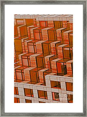 Abstract Architecture In Red Framed Print by Mark Hendrickson