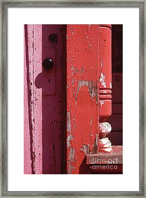 abstract architecture - Red Door Framed Print